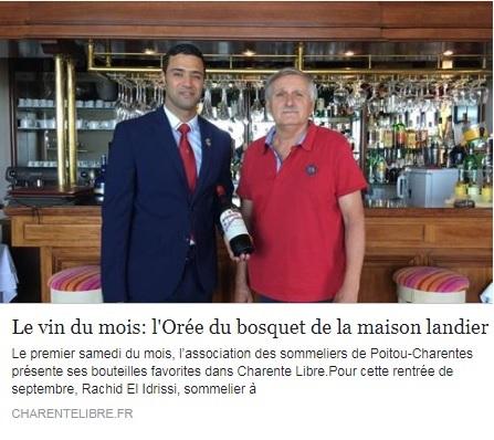 Article Charente Libre _ Août 2017 ODB Sommelier du Poitou Charente