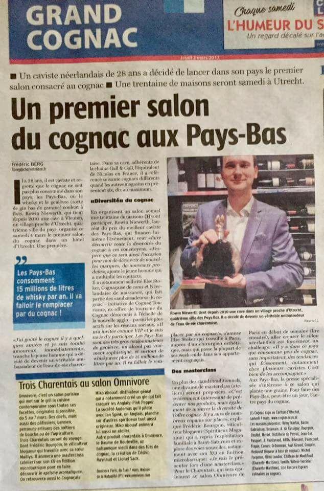 Article Charente Libre _ Février 2017 Cognac Expo Utrecht